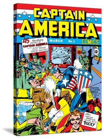 Captain America Comics No.1 Cover: Captain America, Hitler and Adolf-Jack Kirby-Stretched Canvas Print