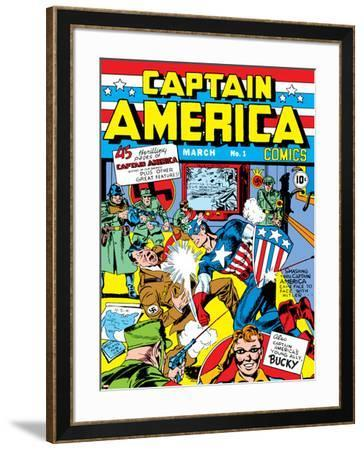 Captain America Comics No.1 Cover: Captain America, Hitler and Adolf-Jack Kirby-Framed Poster