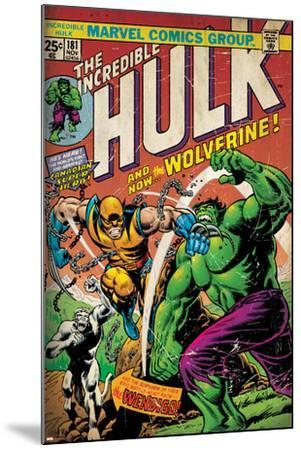 Marvel Comics Retro: The Incredible Hulk Comic Book Cover No.181, with Wolverine (aged)--Mounted Poster