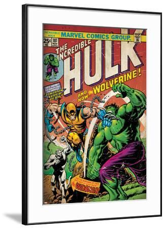 Marvel Comics Retro: The Incredible Hulk Comic Book Cover No.181, with Wolverine (aged)--Framed Poster