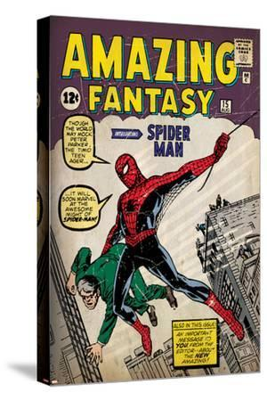 Marvel Comics Retro: Amazing Fantasy Comic Book Cover No.15, Introducing Spider Man (aged)--Stretched Canvas Print