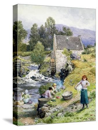 A Mill Pool-Myles Birket Foster-Stretched Canvas Print