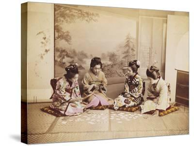 Japanese Women Playing Cards, C.1867-90-Felice Beato-Stretched Canvas Print
