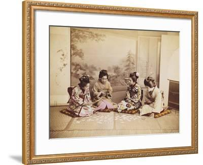 Japanese Women Playing Cards, C.1867-90-Felice Beato-Framed Photographic Print