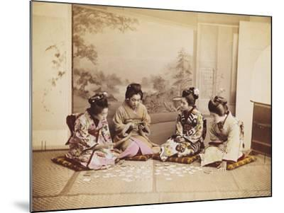 Japanese Women Playing Cards, C.1867-90-Felice Beato-Mounted Photographic Print
