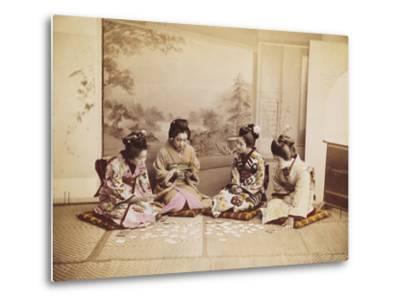 Japanese Women Playing Cards, C.1867-90-Felice Beato-Metal Print