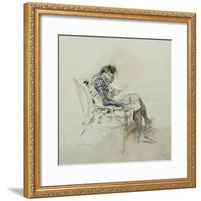 Gentleman Seated in an Armchair Reading a Book and Smoking a Pipe-Giovanni Boldini-Framed Giclee Print