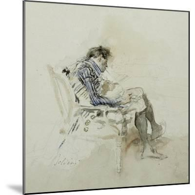 Gentleman Seated in an Armchair Reading a Book and Smoking a Pipe-Giovanni Boldini-Mounted Giclee Print