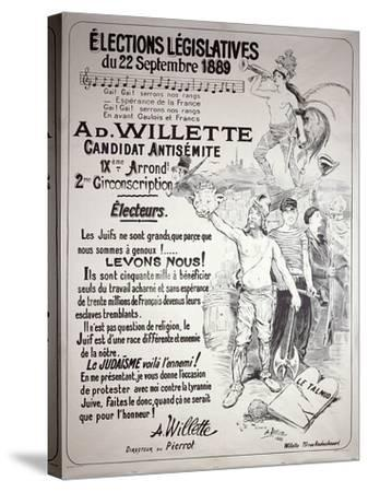 Poster Promoting the Election of the Artist in the Legislative Elections of September 1889-Adolphe Leon Willette-Stretched Canvas Print