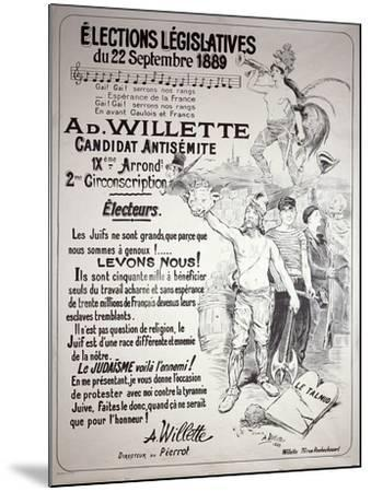 Poster Promoting the Election of the Artist in the Legislative Elections of September 1889-Adolphe Leon Willette-Mounted Giclee Print