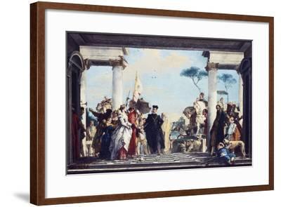 The Arrival of Henri III at the Villa Contarini, before 1750-Giovanni Battista Tiepolo-Framed Giclee Print