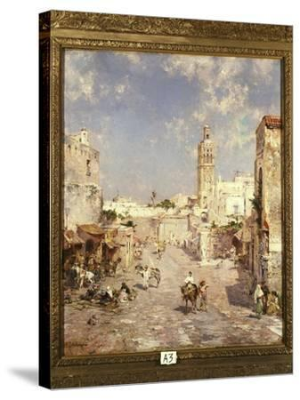Figures in a Moorish Town-Franz Richard Unterberger-Stretched Canvas Print