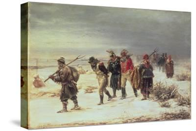 In the Year 1812 (The Retreat from Moscow) 1873-Illarion Mikhailovich Pryanishnikov-Stretched Canvas Print