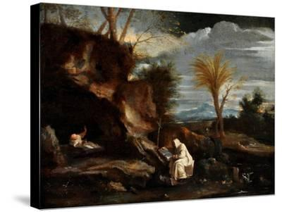 Landscape with Two Carthusian Monks-Pier Francesco Mola-Stretched Canvas Print