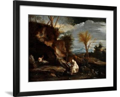 Landscape with Two Carthusian Monks-Pier Francesco Mola-Framed Giclee Print
