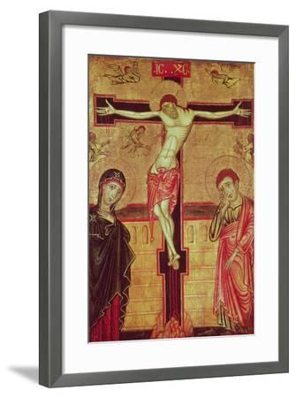 Christ on the Cross, with the Virgin Mary, St. John the Evangelist and Five Angels--Framed Giclee Print