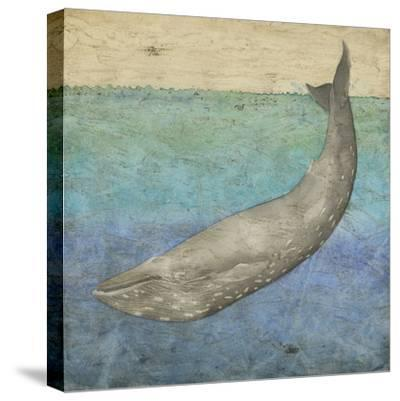 Diving Whale I-Megan Meagher-Stretched Canvas Print