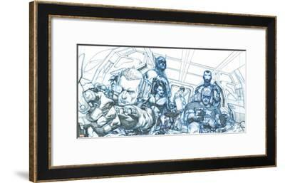 Avengers Assemble Pencils Featuring Hawkeye, Captain America, Iron Man, Thor, Black Widow--Framed Poster