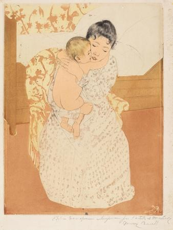 Maternal Caress, 1890-1-Mary Cassatt-Framed Giclee Print