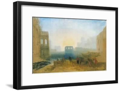 Claudian Harbour Scene: Study for 'Dido Directing the Equipment of the Fleet'-J^ M^ W^ Turner-Framed Giclee Print