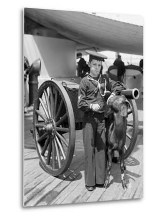 U.S.S. New York, Admiral Sampsons Son and Pitch the Mascot--Metal Print