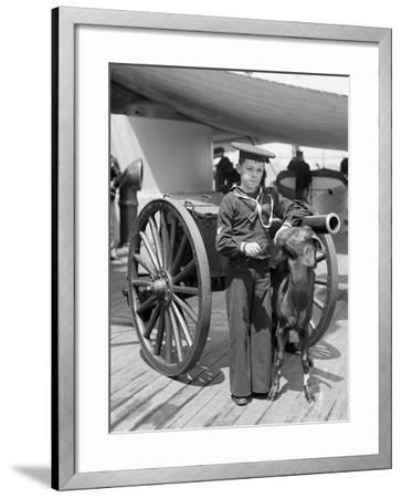 U.S.S. New York, Admiral Sampsons Son and Pitch the Mascot--Framed Photo