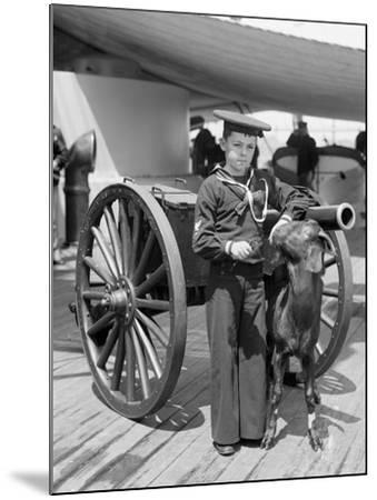 U.S.S. New York, Admiral Sampsons Son and Pitch the Mascot--Mounted Photo