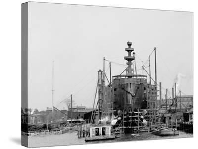 Building a Warship, Cramps I.E. William Cramp Sons Ship and Engine Building Company Shipyard--Stretched Canvas Print