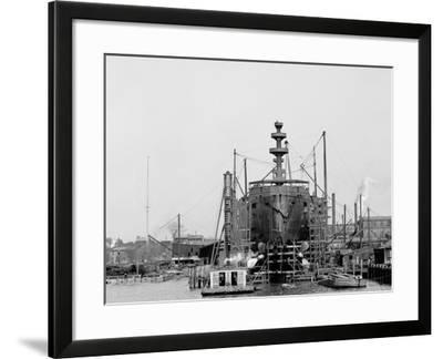 Building a Warship, Cramps I.E. William Cramp Sons Ship and Engine Building Company Shipyard--Framed Photo