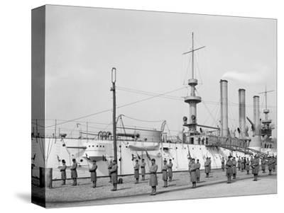 U.S.S. Brooklyn, Marine Guard, Signal Drill--Stretched Canvas Print