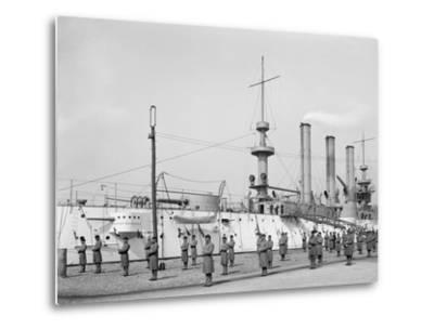 U.S.S. Brooklyn, Marine Guard, Signal Drill--Metal Print