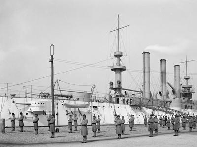 U.S.S. Brooklyn, Marine Guard, Signal Drill--Photo