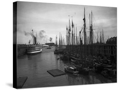 Schooners at the T Wharf--Stretched Canvas Print