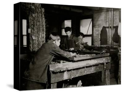 Linking Bed Springs-Lewis Wickes Hine-Stretched Canvas Print