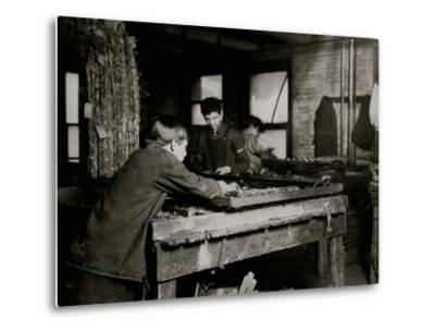 Linking Bed Springs-Lewis Wickes Hine-Metal Print