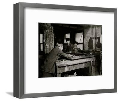 Linking Bed Springs-Lewis Wickes Hine-Framed Photo