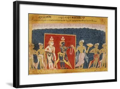 Sudama Offers a Garland to Krishna--Framed Art Print