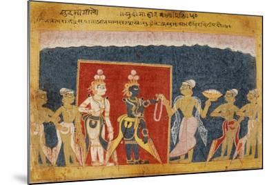 Sudama Offers a Garland to Krishna--Mounted Art Print