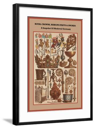 Royal Crowns, Bishops Staffs and Swords - Medieval Germany-Friedrich Hottenroth-Framed Art Print