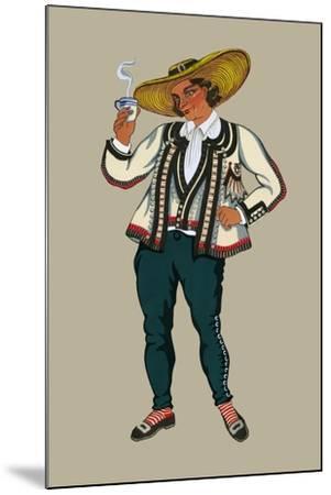 Rich Breton Drinks Hot Tea-Elizabeth Whitney Moffat-Mounted Art Print