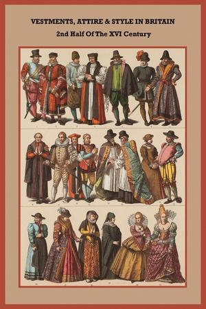 Vestments, Attire and Style in Britain 2nd Half of the XVI Century-Friedrich Hottenroth-Framed Art Print