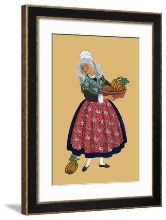 A Young Girl from Champagne Carries Gourds-Elizabeth Whitney Moffat-Framed Art Print