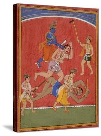 Krishna Killing King Kamsa and Balarama Slaying a Wrestler--Stretched Canvas Print