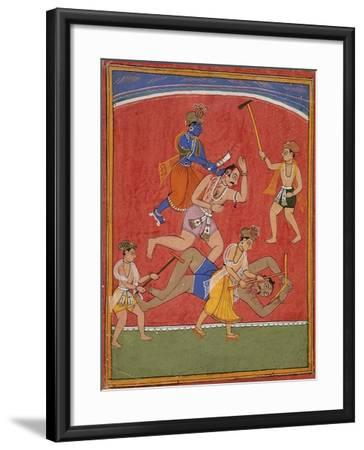 Krishna Killing King Kamsa and Balarama Slaying a Wrestler--Framed Art Print