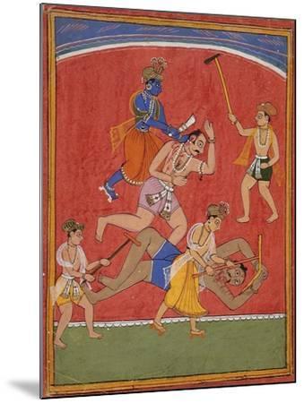 Krishna Killing King Kamsa and Balarama Slaying a Wrestler--Mounted Art Print