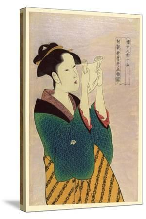 Woman Reading a Letter-Kitagawa Utamaro-Stretched Canvas Print