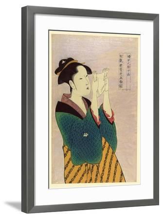 Woman Reading a Letter-Kitagawa Utamaro-Framed Art Print