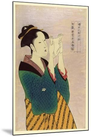 Woman Reading a Letter-Kitagawa Utamaro-Mounted Art Print