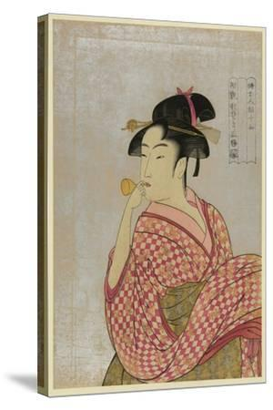 Young Lady Blowing on a Poppin-Kitagawa Utamaro-Stretched Canvas Print