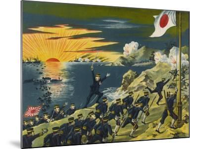 Japanese Land at Liaodong Peninsula, Russians Flee--Mounted Art Print